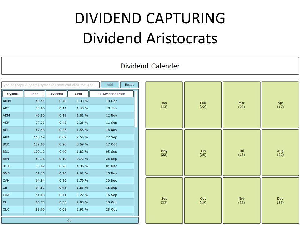 DIVIDEND CAPTURING Dividend Aristocrats