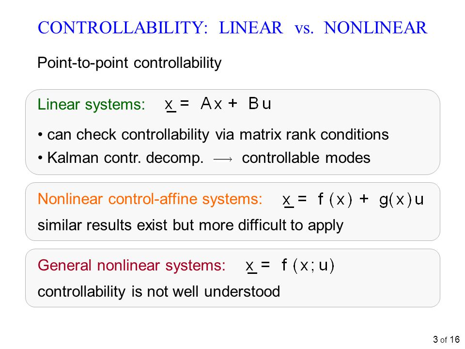 3 of 16 CONTROLLABILITY: LINEAR vs.