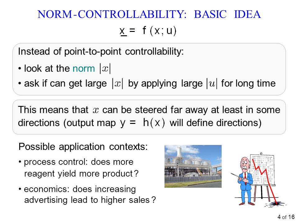 4 of 16 NORM - CONTROLLABILITY: BASIC IDEA process control: does more reagent yield more product .