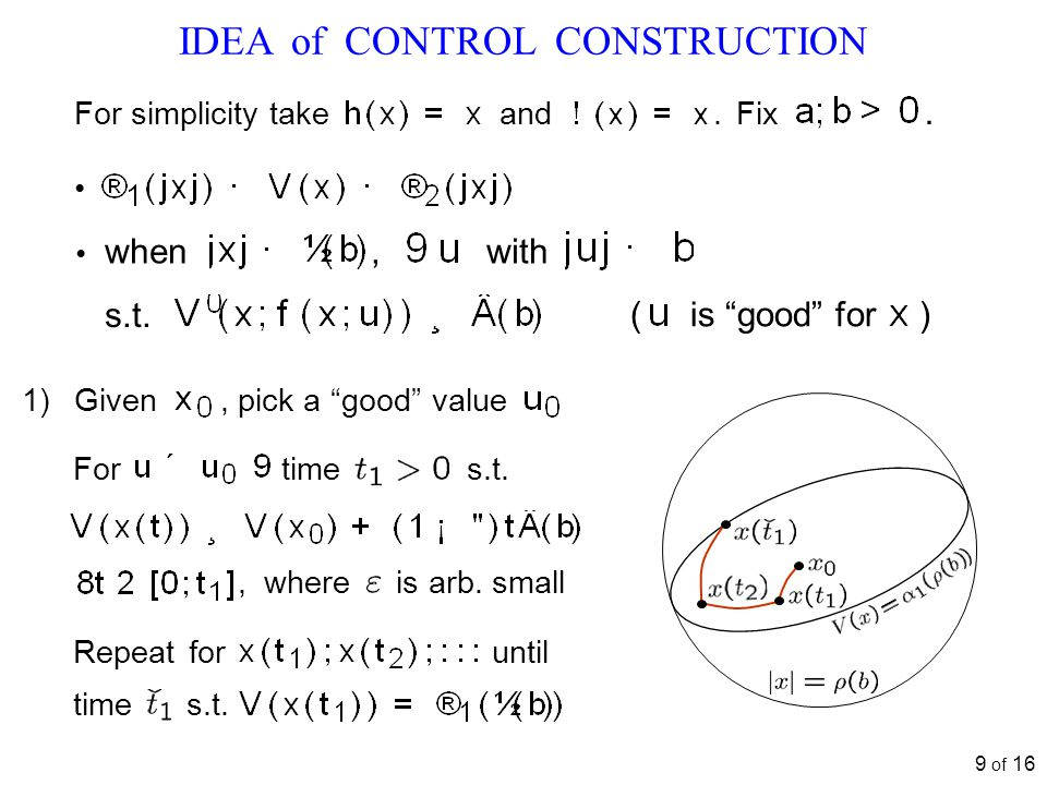 9 of 16 IDEA of CONTROL CONSTRUCTION For time s.t., where is arb.