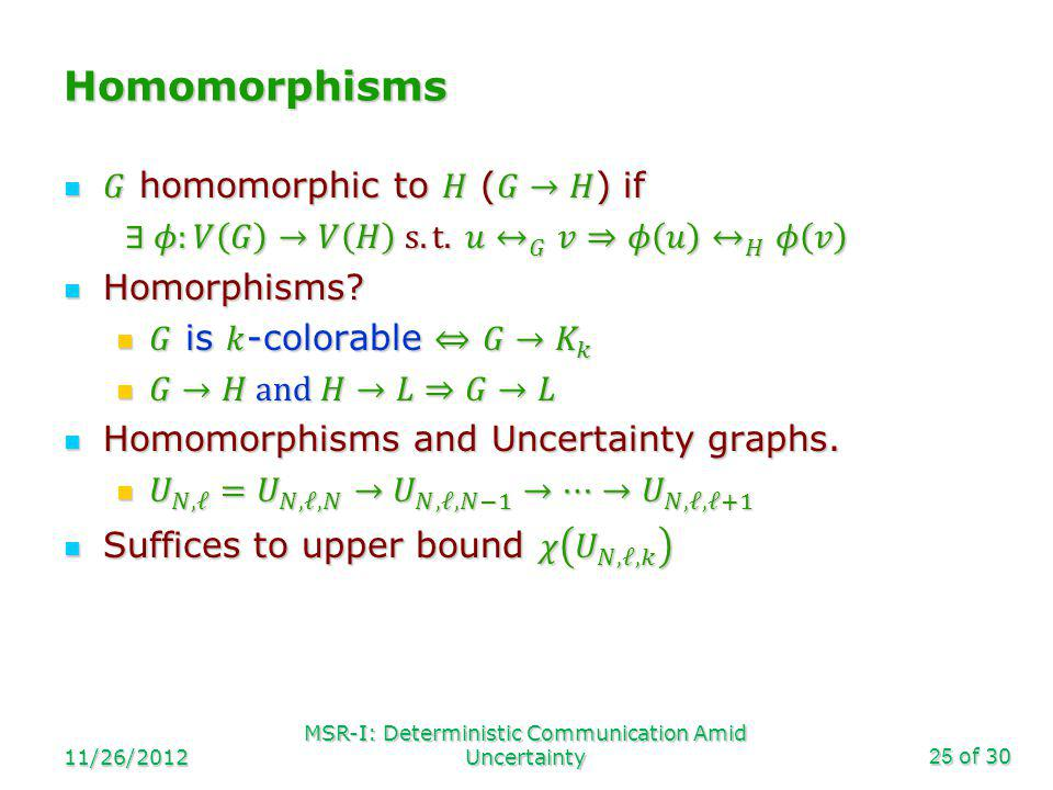 of 30 Homomorphisms 11/26/2012 MSR-I: Deterministic Communication Amid Uncertainty25