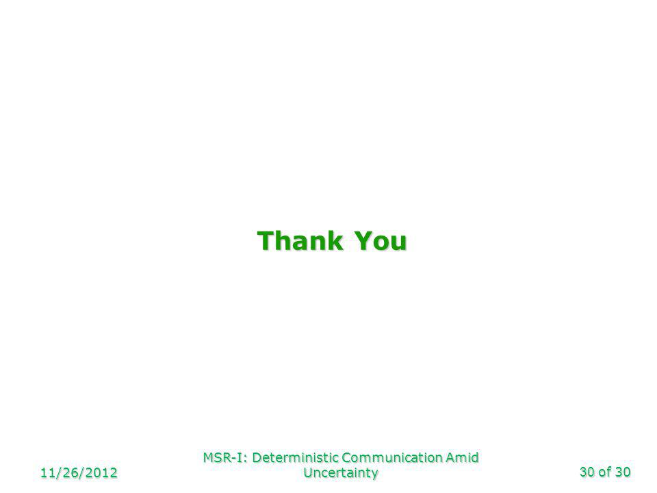 of 30 Thank You 11/26/2012 MSR-I: Deterministic Communication Amid Uncertainty30