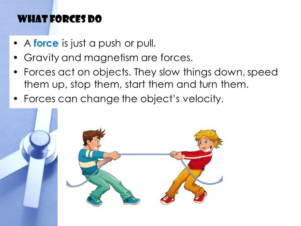 What forces do Change of velocity is called acceleration.