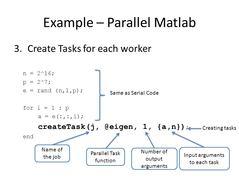 Example – Parallel Matlab 3.Create Tasks for each worker n = 2^16; p = 2^7; e = rand (n,1,p); for i = 1 : p a = e(:,:,i); createTask(j, @eigen, 1, {a,n}) ; end Same as Serial Code Creating tasks Name of the job Parallel Task function Number of output arguments Input arguments to each task