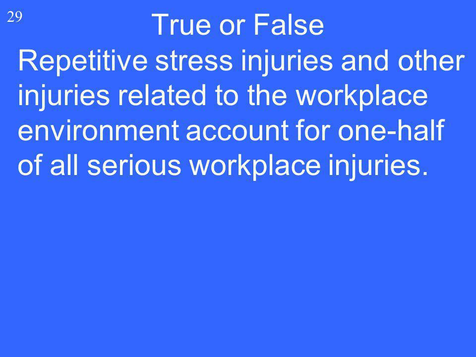 29 Repetitive stress injuries and other injuries related to the workplace environment account for one-half of all serious workplace injuries. True or