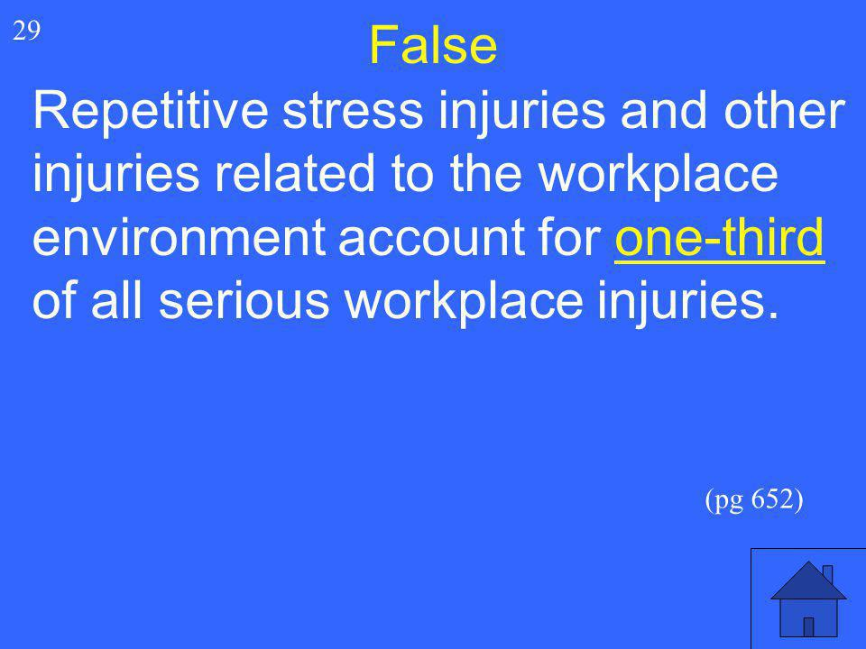59 29 False Repetitive stress injuries and other injuries related to the workplace environment account for one-third of all serious workplace injuries