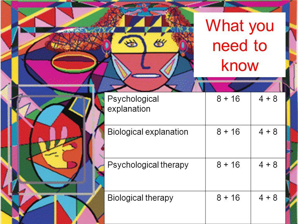 Psychological explanation 8 + 164 + 8 Biological explanation8 + 164 + 8 Psychological therapy8 + 164 + 8 Biological therapy8 + 164 + 8 What you need t