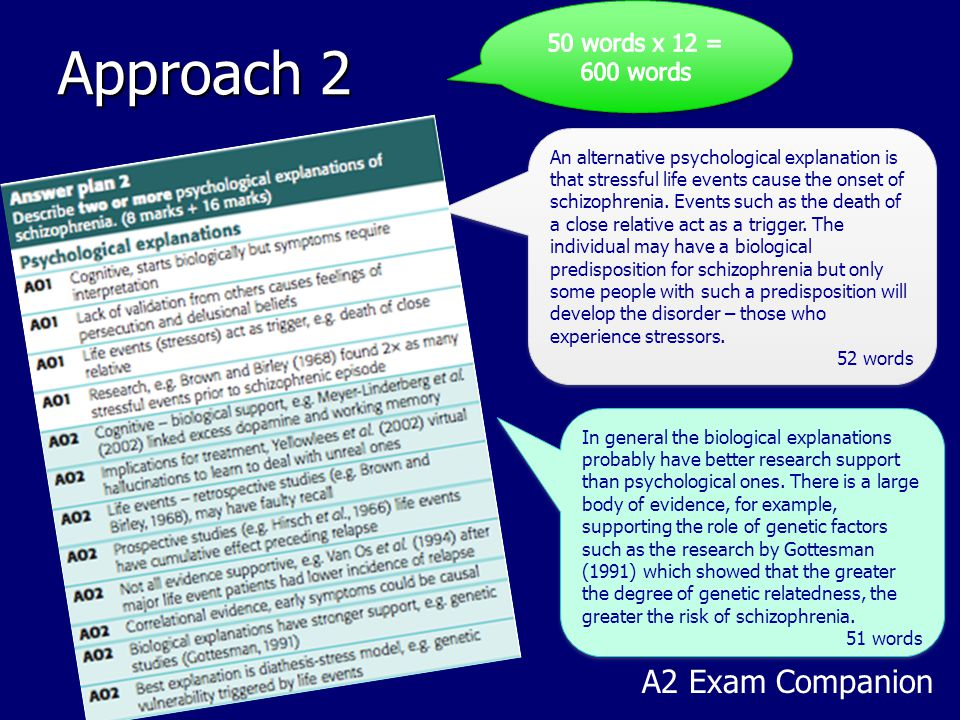 Approach 2 A2 Exam Companion An alternative psychological explanation is that stressful life events cause the onset of schizophrenia. Events such as t