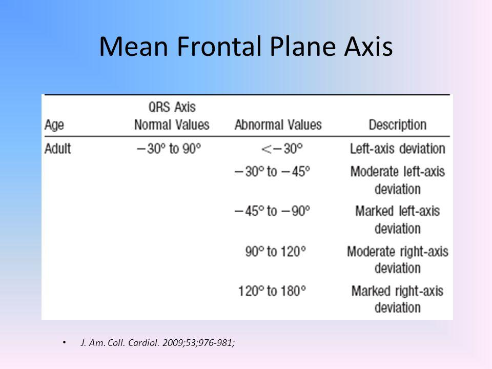 Mean Frontal Plane Axis J. Am. Coll. Cardiol. 2009;53;976-981;