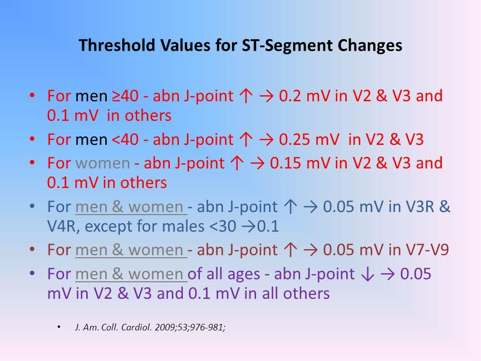 Threshold Values for ST-Segment Changes For men ≥40 - abn J-point ↑ → 0.2 mV in V2 & V3 and 0.1 mV in others For men <40 - abn J-point ↑ → 0.25 mV in