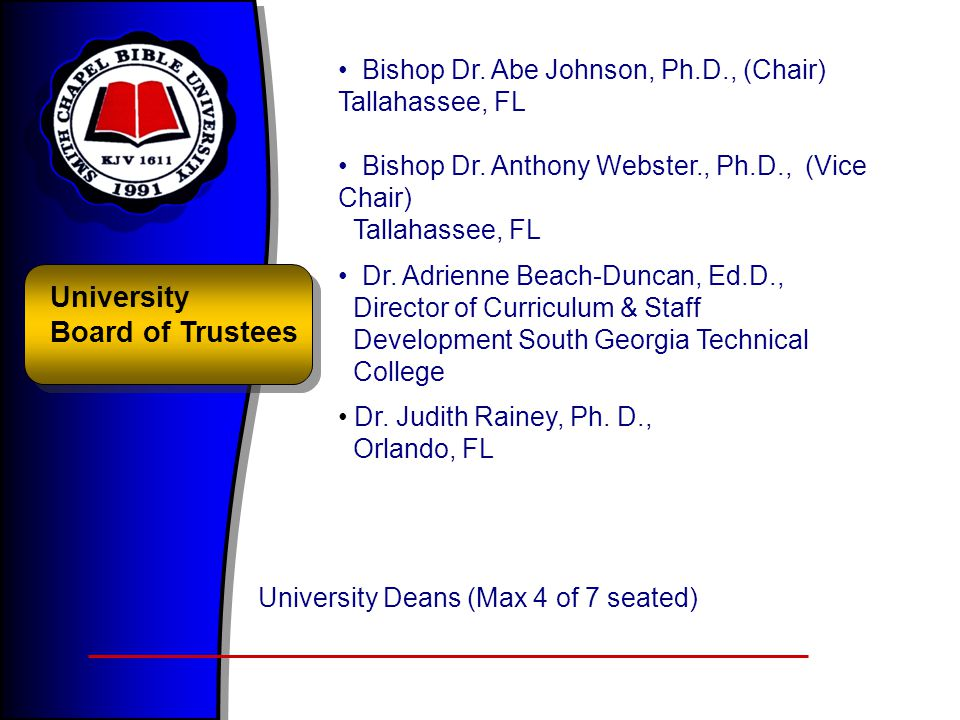 University Board of Trustees Bishop Dr. Abe Johnson, Ph.D., (Chair) Tallahassee, FL Bishop Dr. Anthony Webster., Ph.D., (Vice Chair) Tallahassee, FL D
