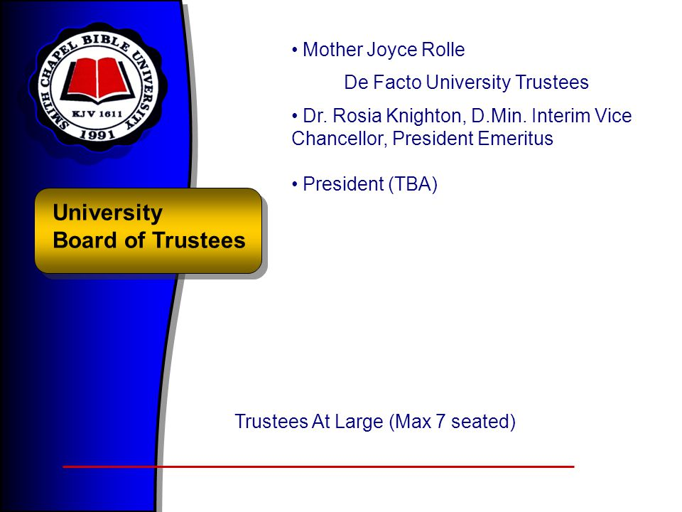 University Board of Trustees Mother Joyce Rolle De Facto University Trustees Dr. Rosia Knighton, D.Min. Interim Vice Chancellor, President Emeritus Pr