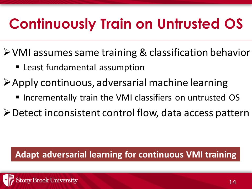 14  VMI assumes same training & classification behavior  Least fundamental assumption  Apply continuous, adversarial machine learning  Incrementally train the VMI classifiers on untrusted OS  Detect inconsistent control flow, data access pattern Continuously Train on Untrusted OS Adapt adversarial learning for continuous VMI training
