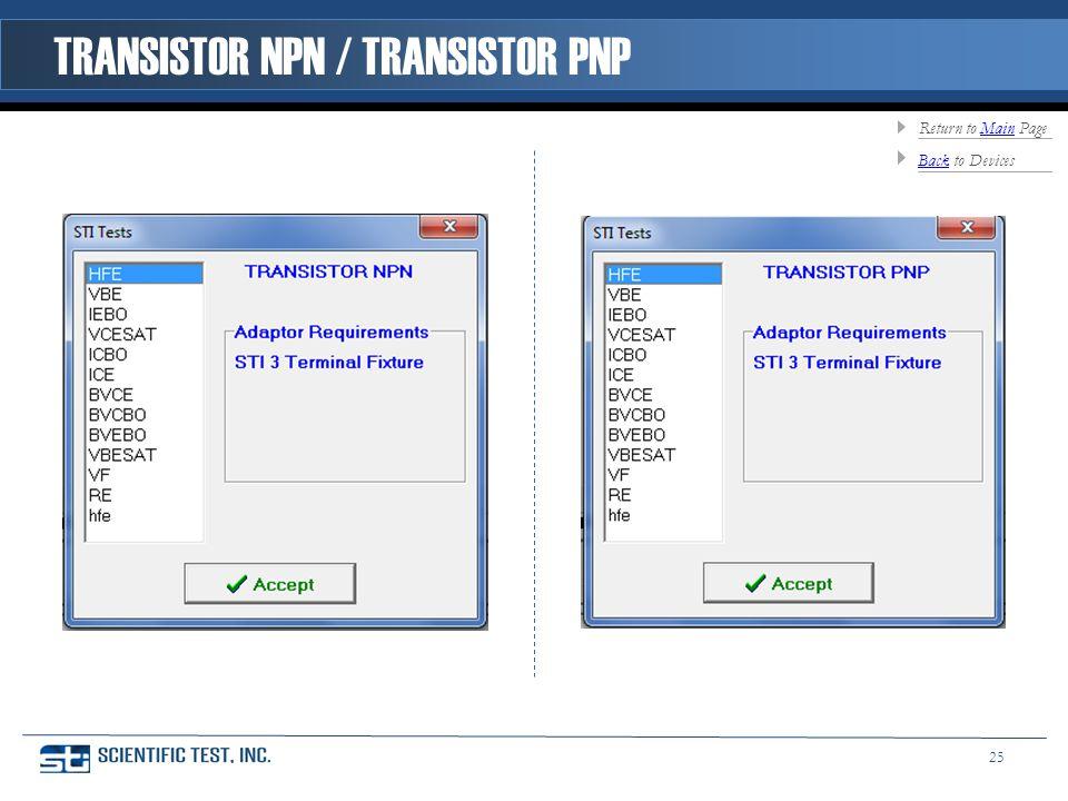TRANSISTOR NPN / TRANSISTOR PNP BackBack to Devices Return to Main PageMain 25