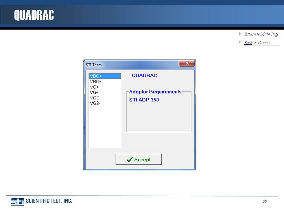 QUADRAC BackBack to Devices Return to Main PageMain 39