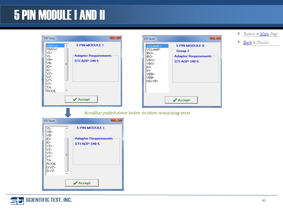 Scrollbar pulled down below to show remaining tests 5 PIN MODULE I AND II BackBack to Devices Return to Main PageMain 40