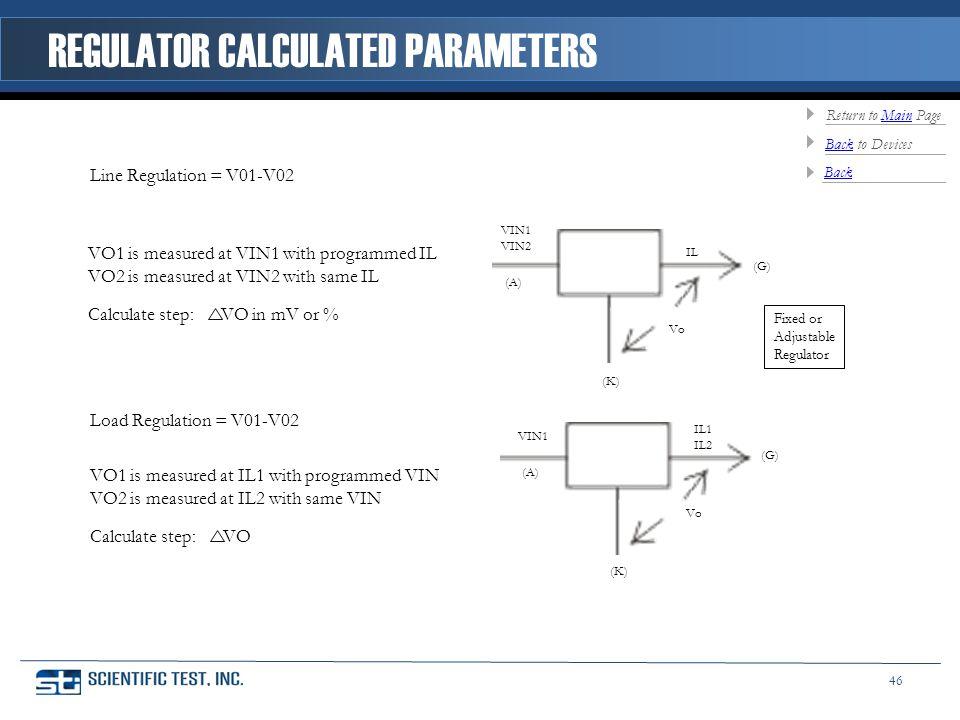 Line Regulation = V01-V02 Load Regulation = V01-V02 VIN1 VIN2 (A) IL (G) (K) Vo VIN1 (A) IL1 IL2 (G) (K) Vo VO1 is measured at VIN1 with programmed IL VO2 is measured at VIN2 with same IL Calculate step: VO in mV or % VO1 is measured at IL1 with programmed VIN VO2 is measured at IL2 with same VIN Calculate step: VO Fixed or Adjustable Regulator REGULATOR CALCULATED PARAMETERS BackBack to Devices Return to Main PageMain 46 Back