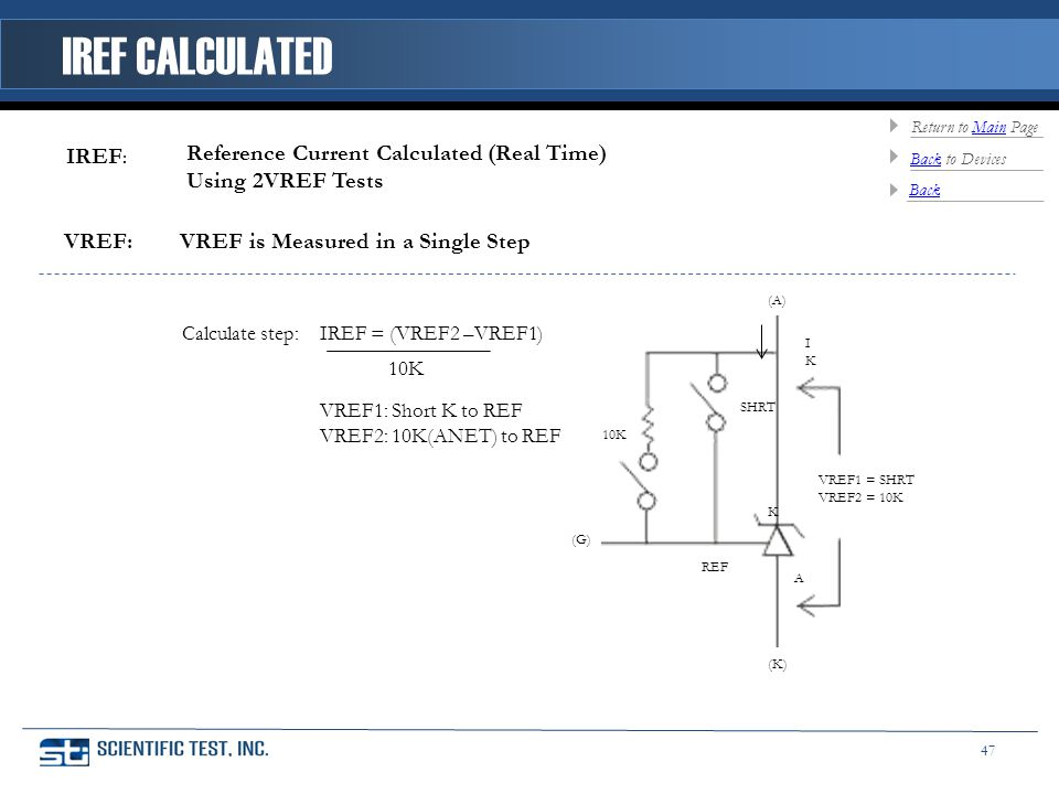 Reference Current Calculated (Real Time) Using 2VREF Tests IREF = (VREF2 –VREF1) VREF1: Short K to REF VREF2: 10K(ANET) to REF 10K REF SHRT (G) (A) VREF1 = SHRT VREF2 = 10K K A (K) IKIK 10K Calculate step: VREF: VREF is Measured in a Single Step IREF : IREF CALCULATED Back Back to Devices Return to Main PageMain 47