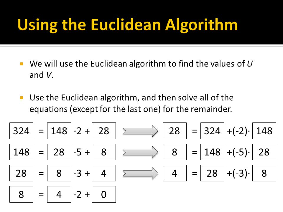  We will use the Euclidean algorithm to find the values of U and V.  Use the Euclidean algorithm, and then solve all of the equations (except for th