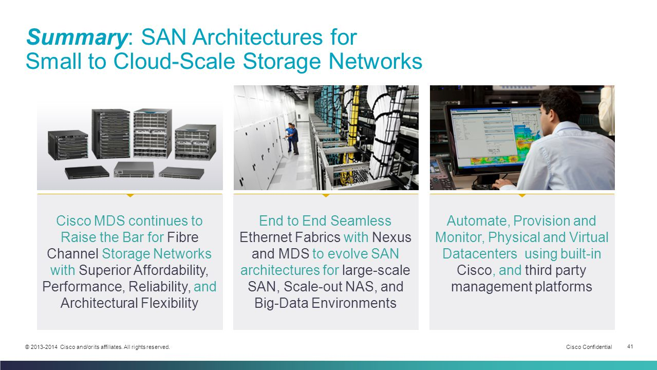 Cisco Confidential 41 © 2013-2014 Cisco and/or its affiliates. All rights reserved. Summary: SAN Architectures for Small to Cloud-Scale Storage Networ