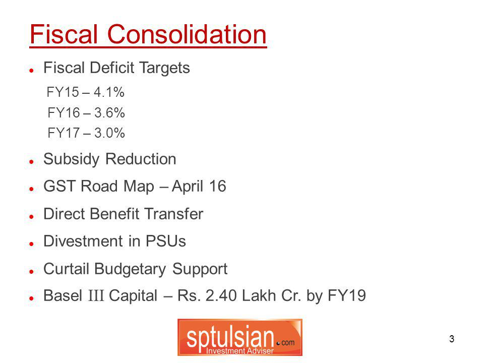 3 Fiscal Deficit Targets FY15 – 4.1% FY16 – 3.6% FY17 – 3.0% Subsidy Reduction GST Road Map – April 16 Direct Benefit Transfer Divestment in PSUs Curtail Budgetary Support Basel III Capital – Rs.