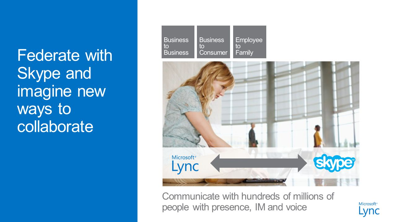 Communicate with hundreds of millions of people with presence, IM and voice
