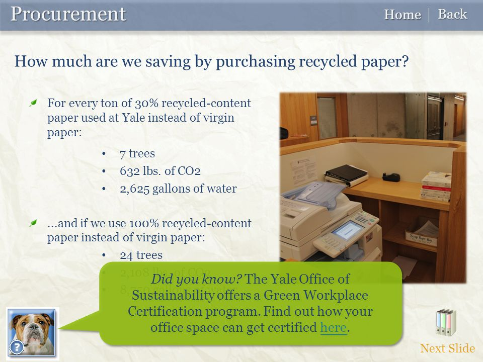 For every ton of 30% recycled-content paper used at Yale instead of virgin paper: 7 trees 632 lbs.