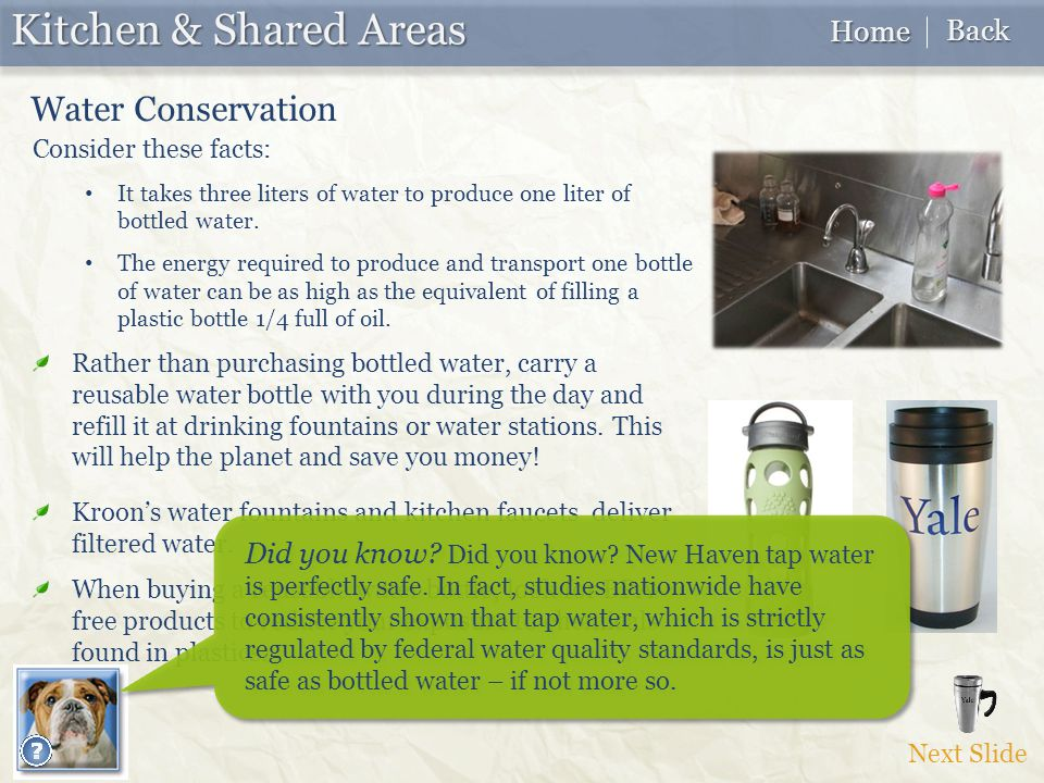 Next Slide Kitchen & Shared Areas Water Conservation Consider these facts: It takes three liters of water to produce one liter of bottled water.