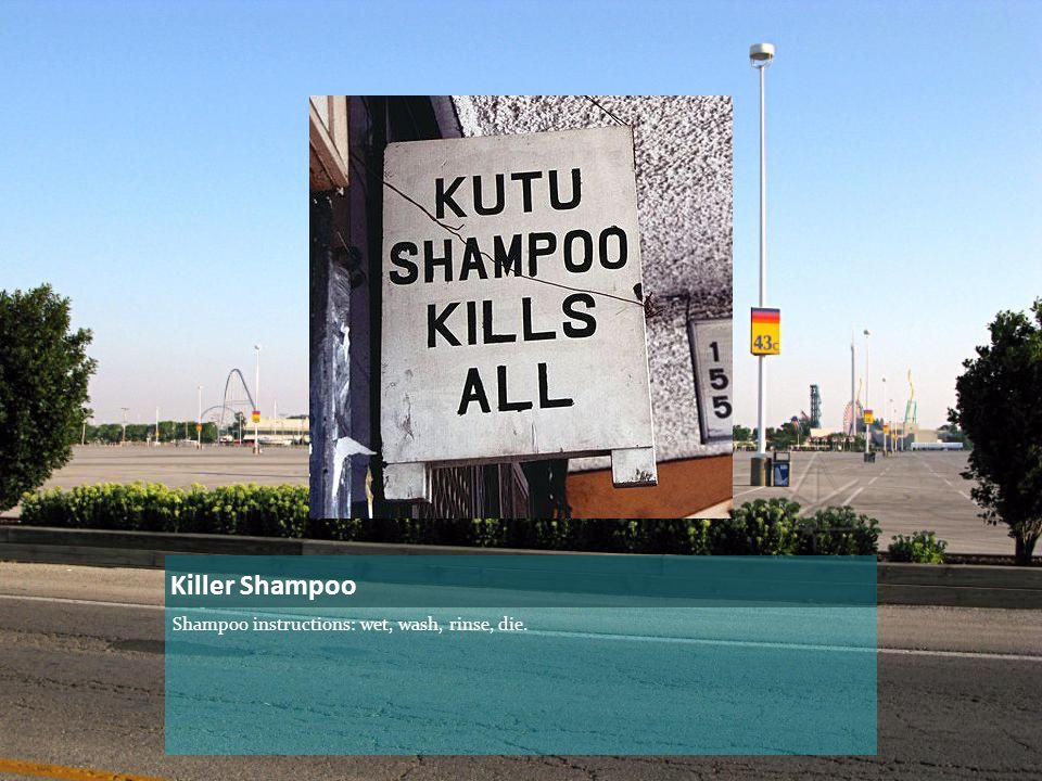 Killer Shampoo Shampoo instructions: wet, wash, rinse, die.