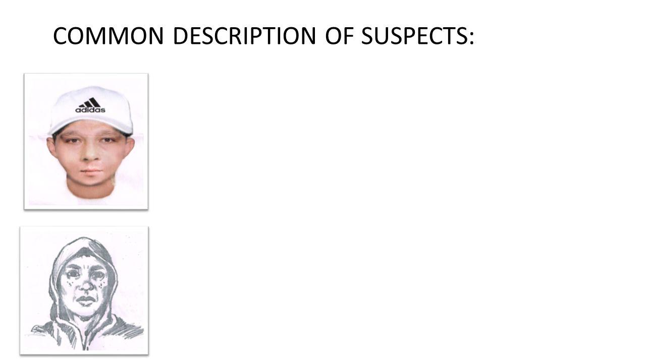 COMMON DESCRIPTION OF SUSPECTS: