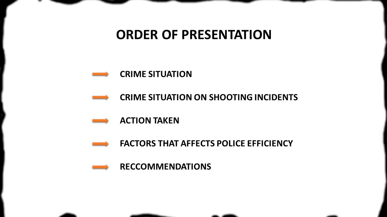 ORDER OF PRESENTATION CRIME SITUATION CRIME SITUATION ON SHOOTING INCIDENTS ACTION TAKEN FACTORS THAT AFFECTS POLICE EFFICIENCY RECCOMMENDATIONS