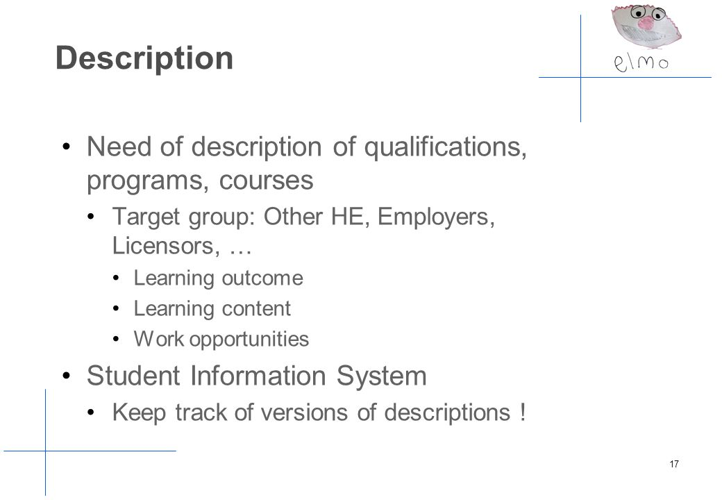 Description Need of description of qualifications, programs, courses Target group: Other HE, Employers, Licensors, … Learning outcome Learning content Work opportunities Student Information System Keep track of versions of descriptions .
