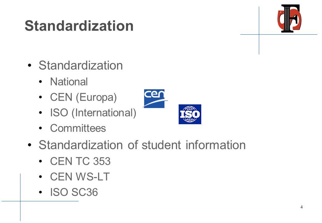 Standardization National CEN (Europa) ISO (International) Committees Standardization of student information CEN TC 353 CEN WS-LT ISO SC36 4