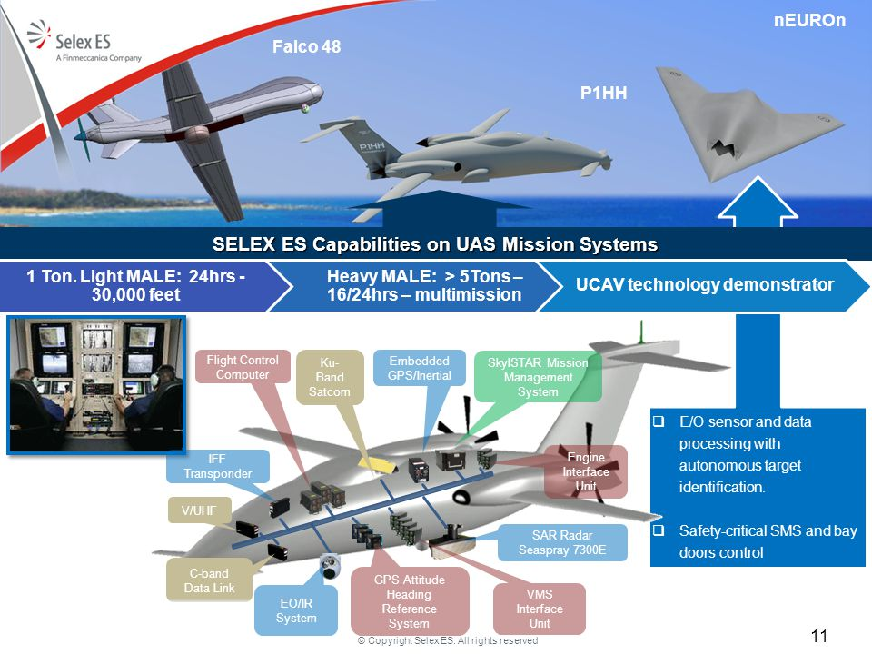 © Copyright Selex ES. All rights reserved  E/O sensor and data processing with autonomous target identification.  Safety-critical SMS and bay doors