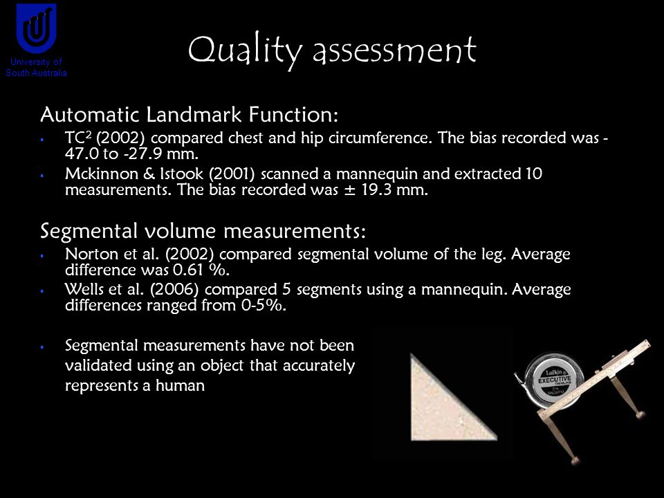 Quality assessment Automatic Landmark Function:  TC 2 (2002) compared chest and hip circumference.