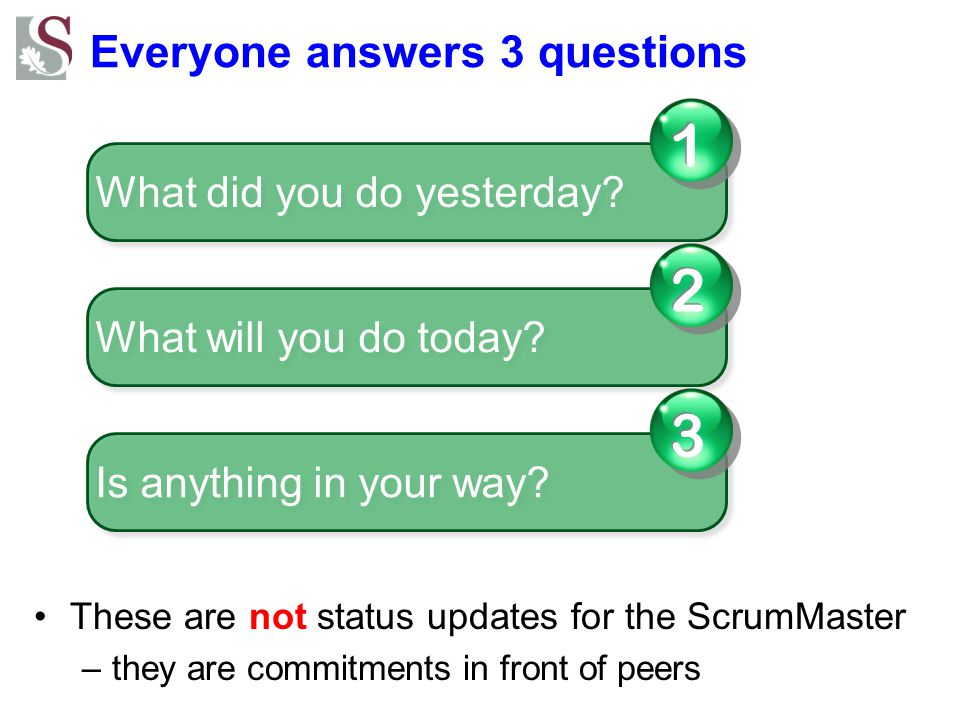 Everyone answers 3 questions These are not status updates for the ScrumMaster –they are commitments in front of peers What did you do yesterday.