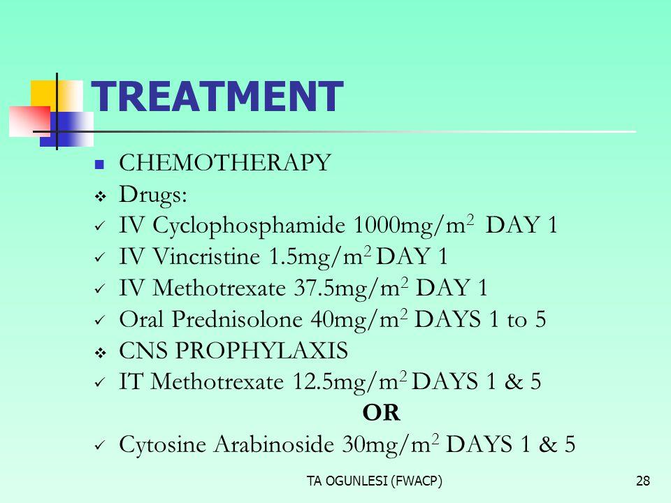 TA OGUNLESI (FWACP)28 TREATMENT CHEMOTHERAPY  Drugs: IV Cyclophosphamide 1000mg/m 2 DAY 1 IV Vincristine 1.5mg/m 2 DAY 1 IV Methotrexate 37.5mg/m 2 D