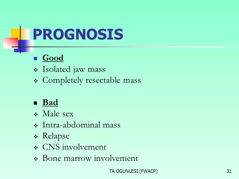 TA OGUNLESI (FWACP)31 PROGNOSIS Good  Isolated jaw mass  Completely resectable mass Bad  Male sex  Intra-abdominal mass  Relapse  CNS involvemen