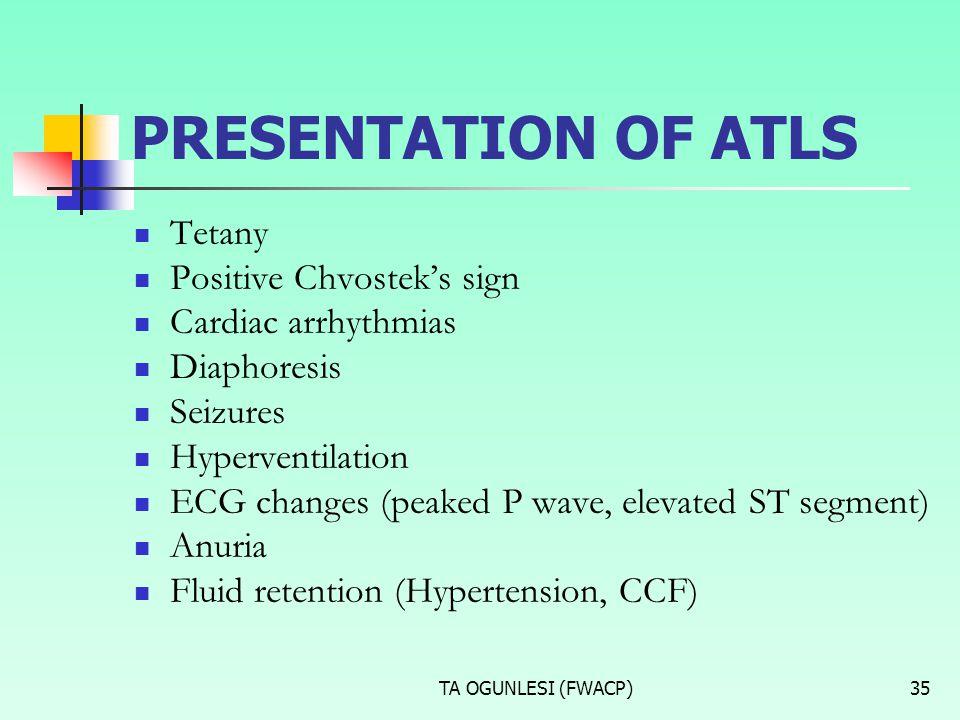 TA OGUNLESI (FWACP)35 PRESENTATION OF ATLS Tetany Positive Chvostek's sign Cardiac arrhythmias Diaphoresis Seizures Hyperventilation ECG changes (peak