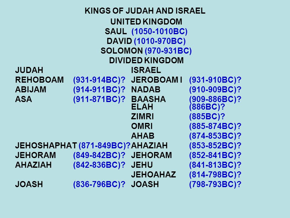 KINGS OF JUDAH AND ISRAEL UNITED KINGDOM SAUL (1050-1010BC) DAVID (1010-970BC) SOLOMON (970-931BC) DIVIDED KINGDOM JUDAHISRAEL REHOBOAM(931-914BC)?JER