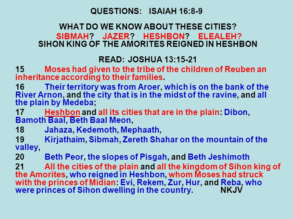 QUESTIONS:ISAIAH 16:8-9 WHAT DO WE KNOW ABOUT THESE CITIES? SIBMAH? JAZER? HESHBON? ELEALEH? SIHON KING OF THE AMORITES REIGNED IN HESHBON READ:JOSHUA