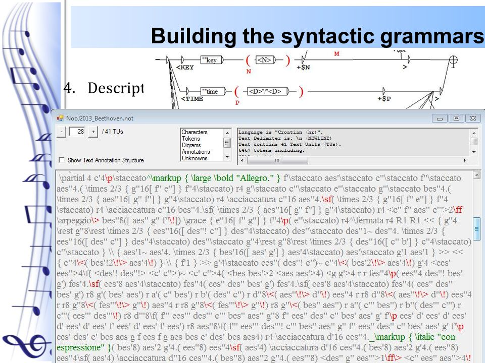 4.Description of: A.Key B.Time C.Tempo D.Clef E.Markup F.override Building the syntactic grammars 05.06.2013.18 International NooJ Conference 2013