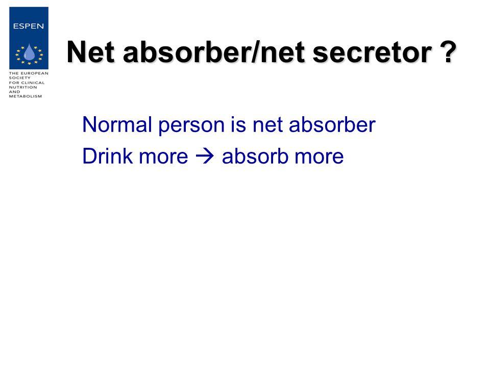 Net absorber/net secretor Normal person is net absorber Drink more  absorb more