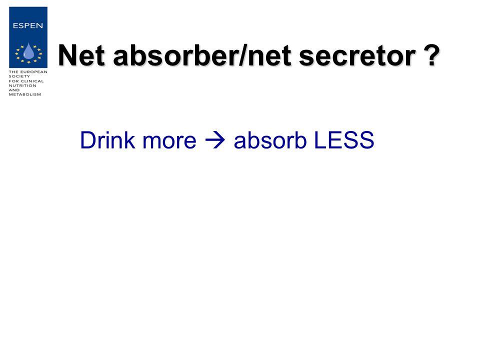 Net absorber/net secretor Drink more  absorb LESS