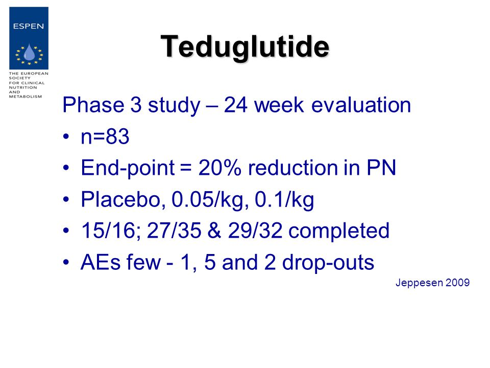 Teduglutide Phase 3 study – 24 week evaluation n=83 End-point = 20% reduction in PN Placebo, 0.05/kg, 0.1/kg 15/16; 27/35 & 29/32 completed AEs few - 1, 5 and 2 drop-outs Jeppesen 2009