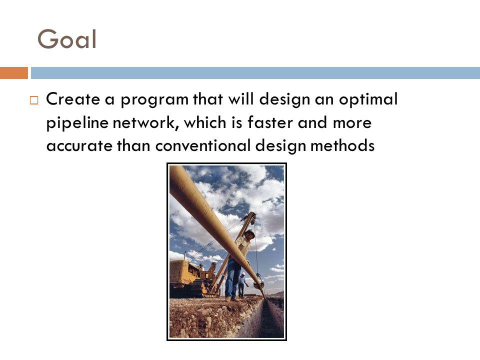 Goal  Create a program that will design an optimal pipeline network, which is faster and more accurate than conventional design methods