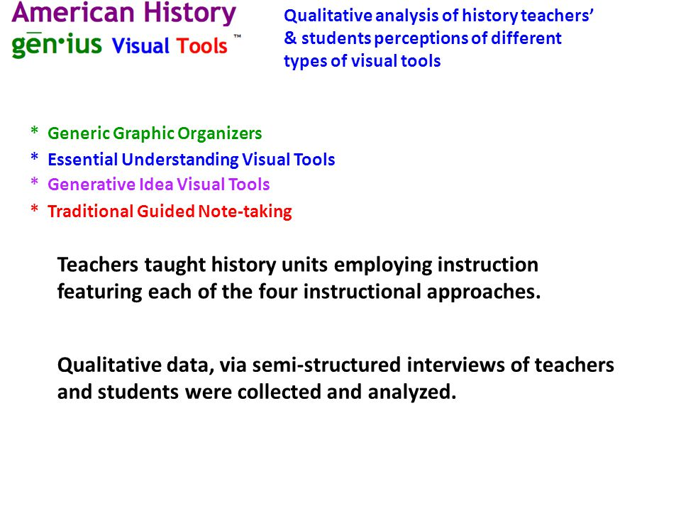 * Essential Understanding Visual Tools * Generative Idea Visual Tools * Traditional Guided Note-taking Qualitative data, via semi-structured interviews of teachers and students were collected and analyzed.