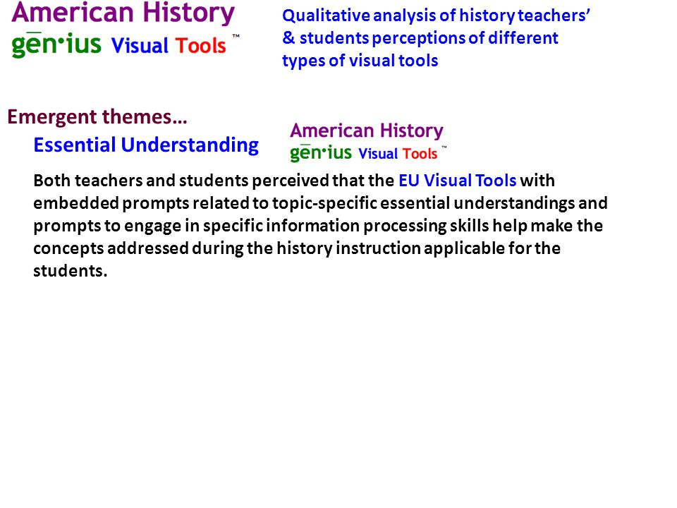 Sample comments: Teacher: These (EU Visual Tools) make the information real and personal to the student.