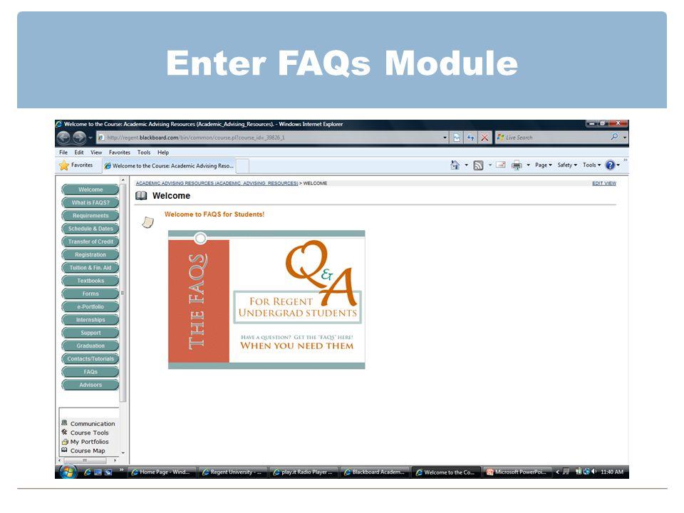 Enter FAQs Module